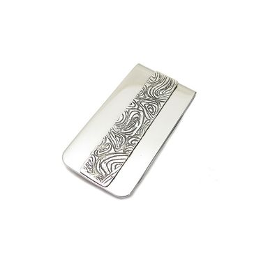 Custom Made Fathers Day Money Clip - Striped Money Clip - Mens Textured Money Clip - Custom Money Clip