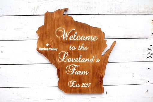 Custom Made State Wood Sign | State Cut Out Personalized Sign | State Wall Art | Wisconsin Custom Sign |
