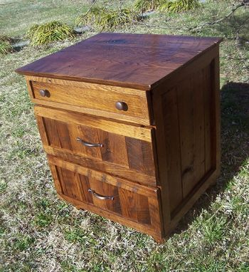 Custom Made Rustic Oak Nightstand With 3 Drawers