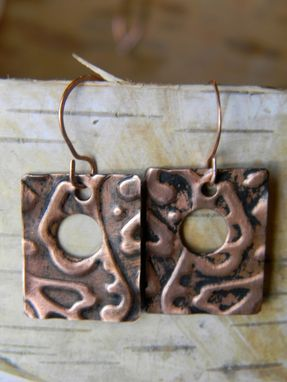Custom Made Copper Embossed Open Square Earrings