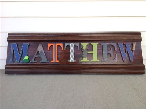 Custom Made Rustic Boys Or Nursery Decor, Wood Letters Woodland Camp Blue Orange Deer, Green Custom Sign Art