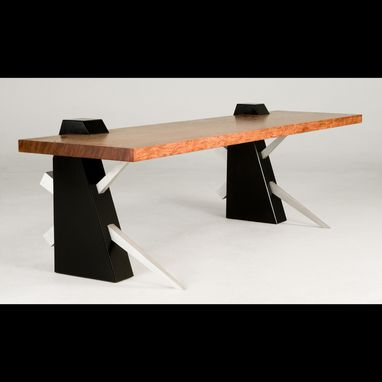 Custom Made Modern Bench In Bubinga And Black Wood With Cantilevered Seat (Chopstick)