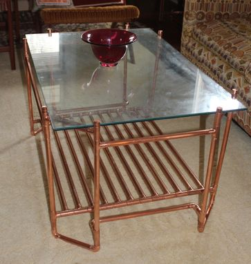 Custom Made Copper Pipe And Glass Cocktail Table