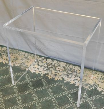 Custom Made Acrylic Side / End Table - Slab Leg, Simple Design - Hand Crafted, Made To Order