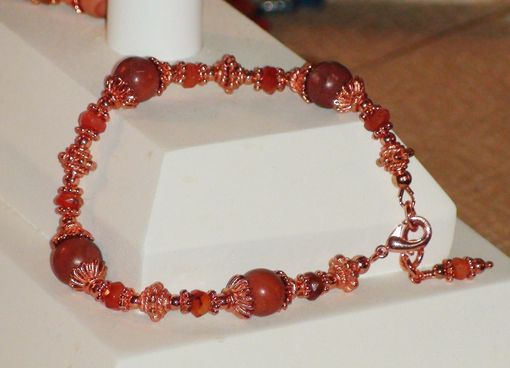 Custom Made Autumn Hickoryite Bracelet With Swarovski Crystals In Copper