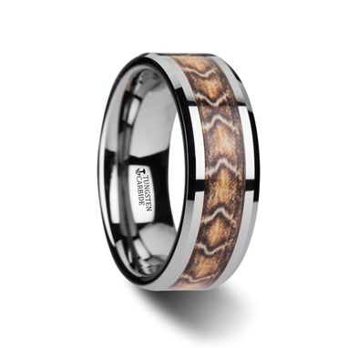 Custom Made Viper Tungsten Wedding Ring With Boa Snake Skin Design Inlay - 8mm