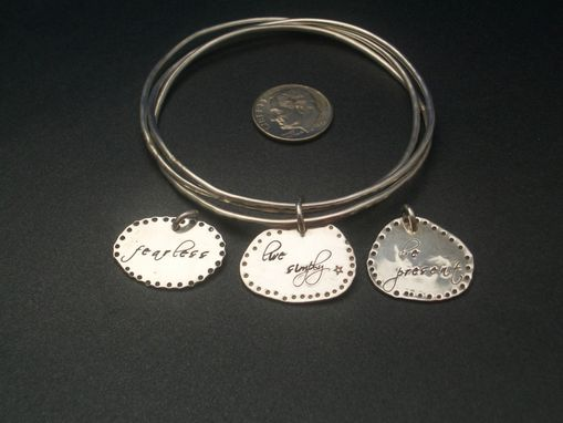Custom Made Charm Bracelet Set With Hand Stamped Charms