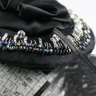 Custom Made Beaded Black Fascinator With Feather, Coco
