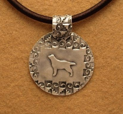 Custom Made Round Lab Pendant With Spiral Border Design - Medium