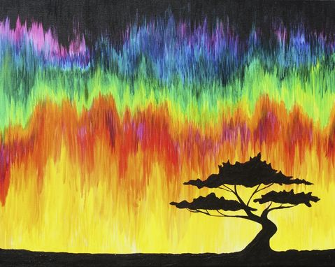 Custom Made Tree Silhouette Acrylic Painting With Colorful Melting Sky