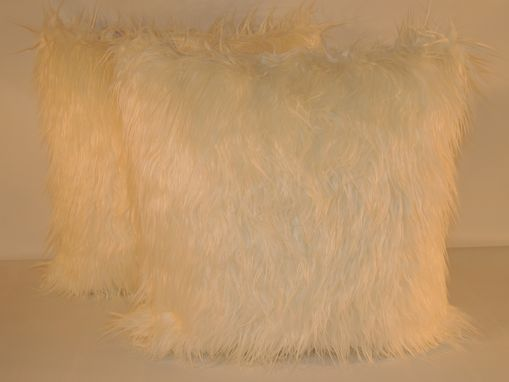 Custom Made Mongolian Off-White Faux Fur 18 X 18 In. Decorative Pillow - Set Of 2