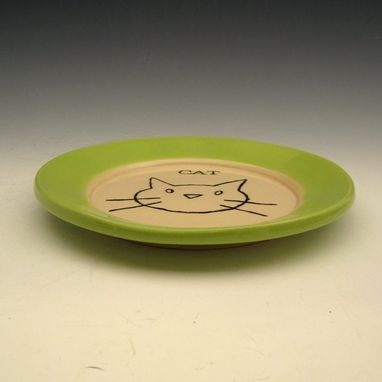 Custom Made Hand Made Ceramic Plate With A Cat In Green