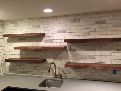 Custom Made Floating Shelving With Brackets