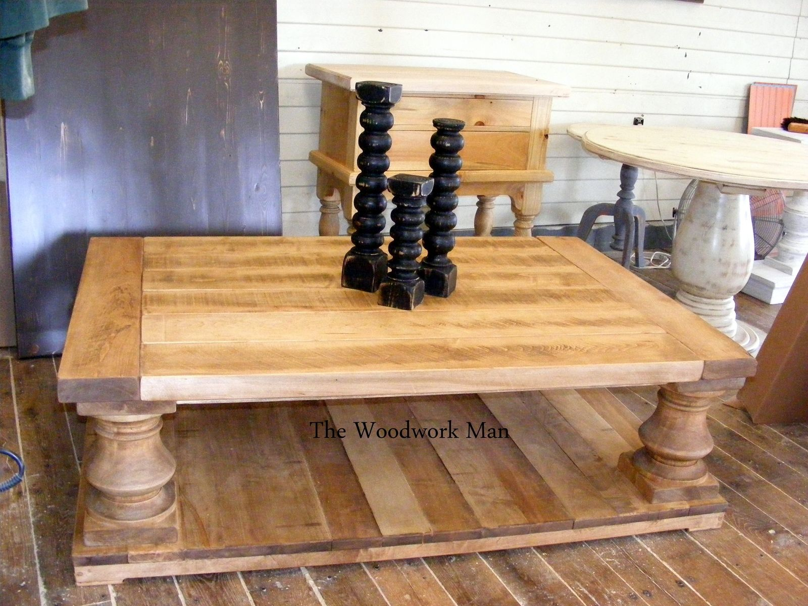 Custom Made Micah s Rustic Solid Maple Balustrade Coffee Table by