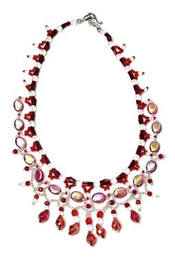Custom Made Fancy Red  Beaded  Necklace