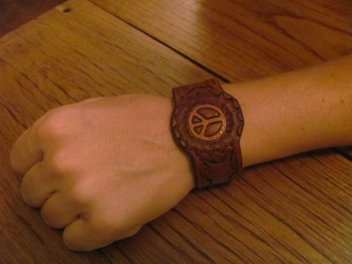 Custom Made Handstamped Leather Peace Sign Bracelet