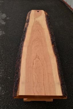 Custom Made Live Edge Cherry Bench With Trestle Base