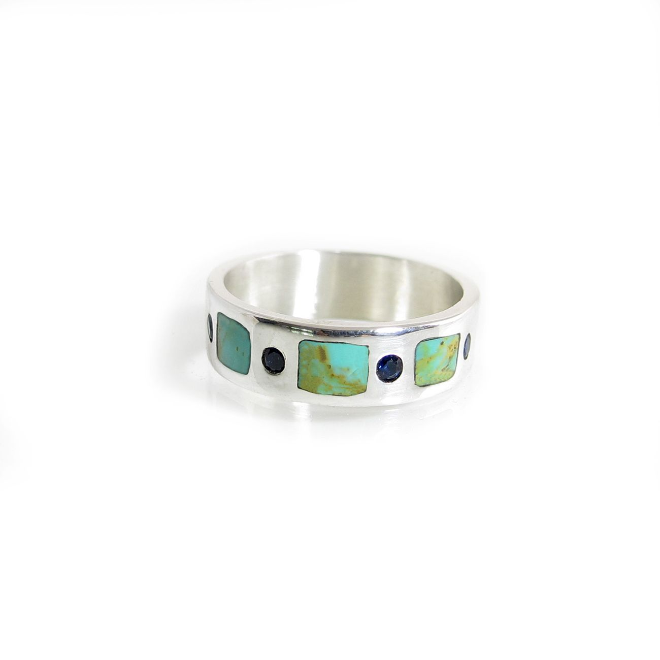 Buy Handmade Turquoise And Sapphire Inlay Wedding Ring For Men Or ...