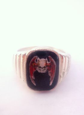 Custom Made Skull With Wings Ring