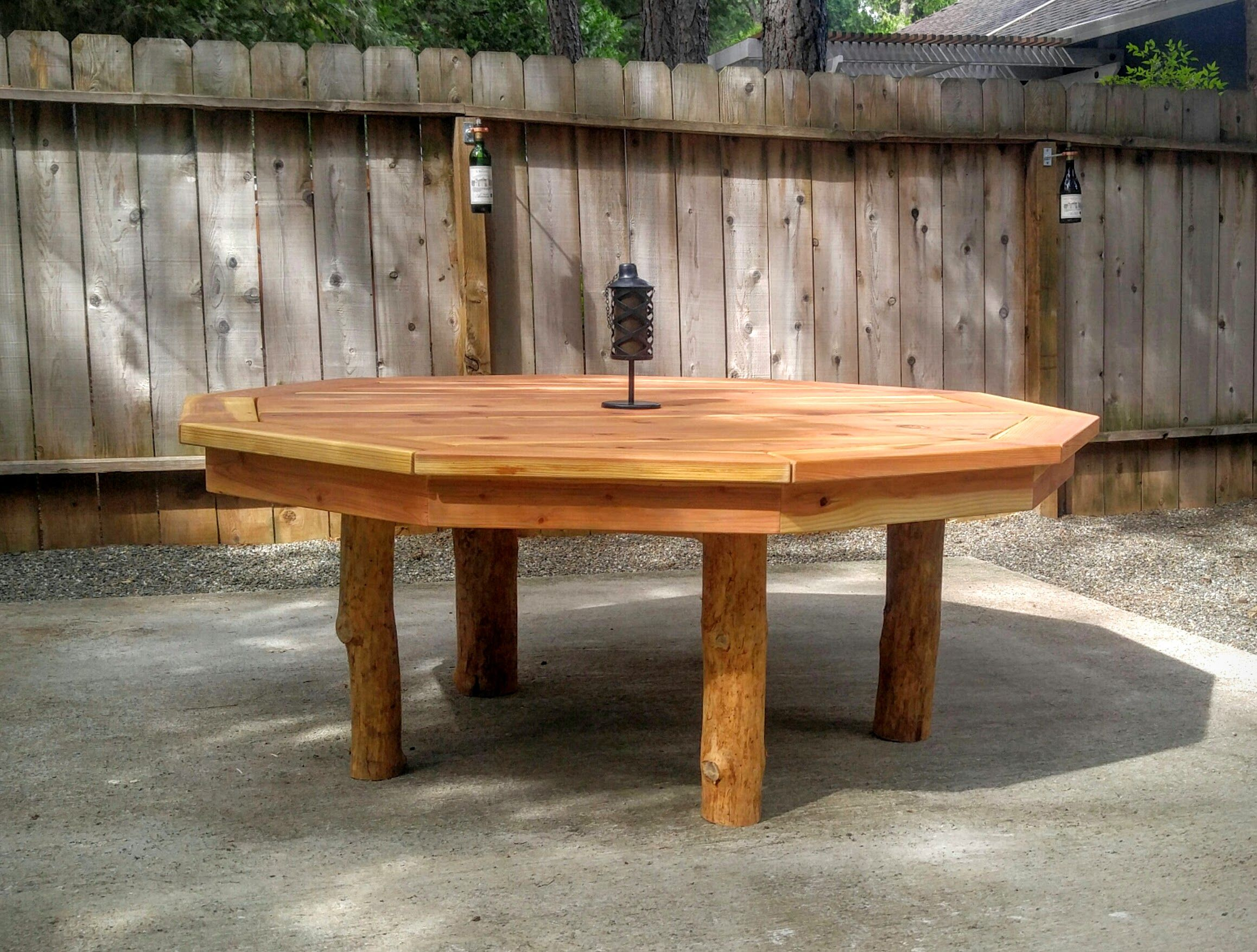 Buy A Hand Crafted Outdoor Redwood 10 Sided Polygon Table