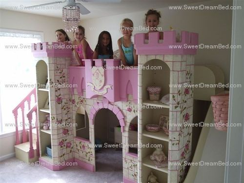 Custom Made Girls Princess Castle Bed With Slide