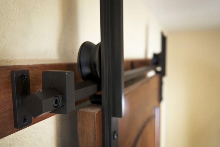 Custom Interior Barn Door Hardware Hex Bar Installation By Basin