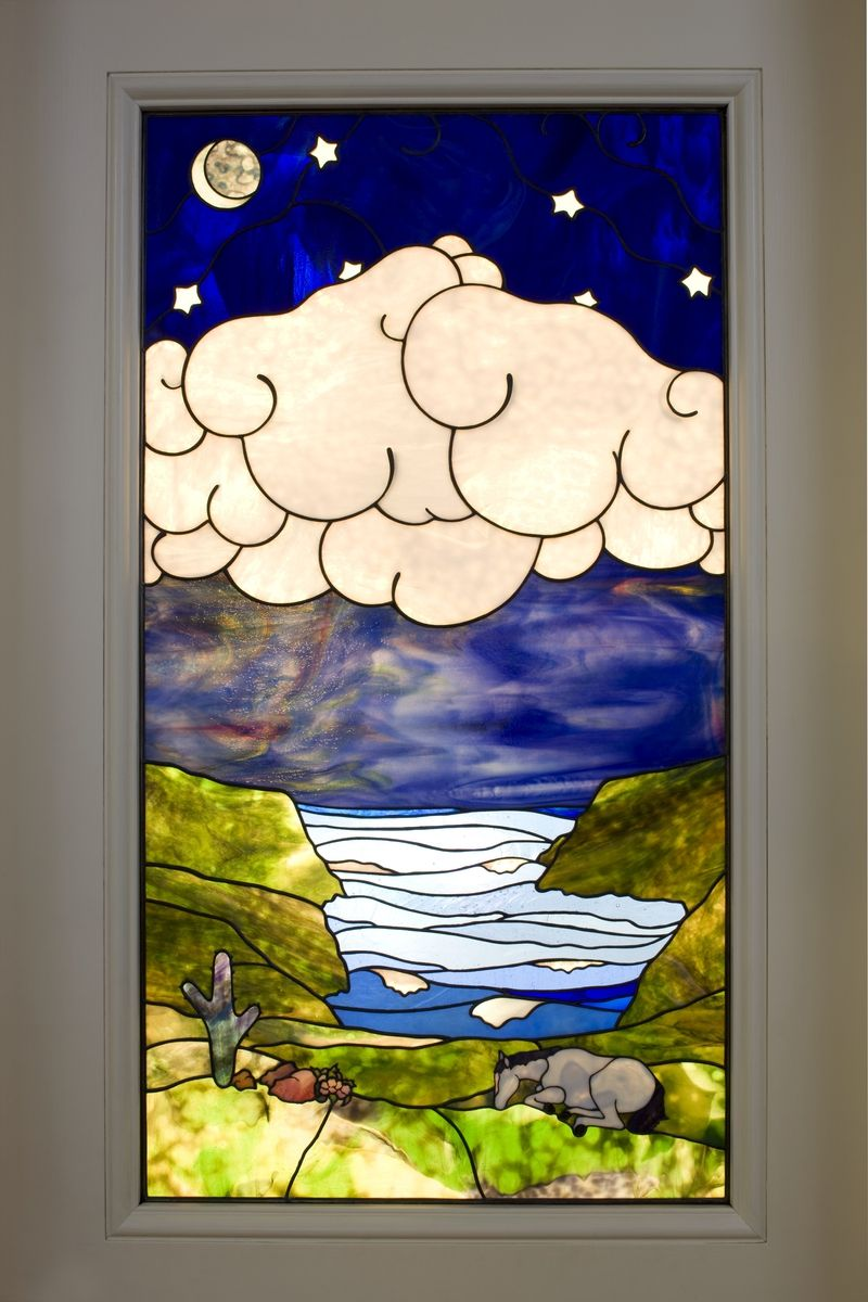 Stained glass pocket doors - Custom Made Stained Glass Pocket Door Window