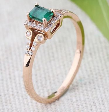 Custom Made 1 Carat Emerald Engagement Ring In 14k Rose Gold