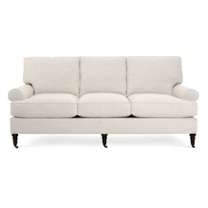 Custom Made Hand-Made Sock Arm Upholstered Sofa
