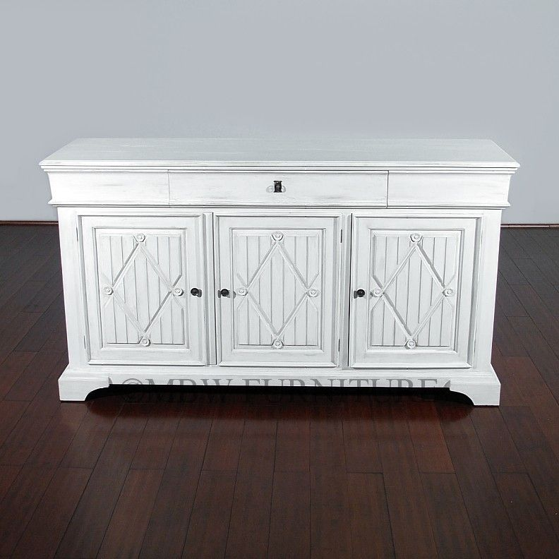Custom Made Antiqued White Solid Hardwood Sideboard Buffet Server