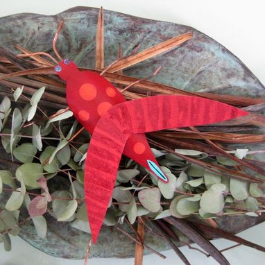 Custom Made Handmade Upcycled 3d Metal Grasshopper Sculpture In Red