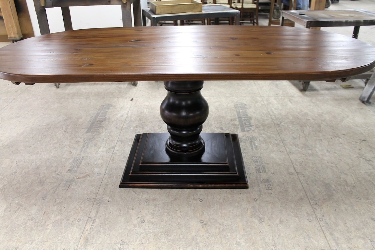 Hand Made Racetrack Oval Table With Tiered Tuscan Pedestal