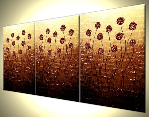 Custom Made Original Flowers Abstract Impasto Gold Red Roses Poppies Painting, Textured Palette Knife Art