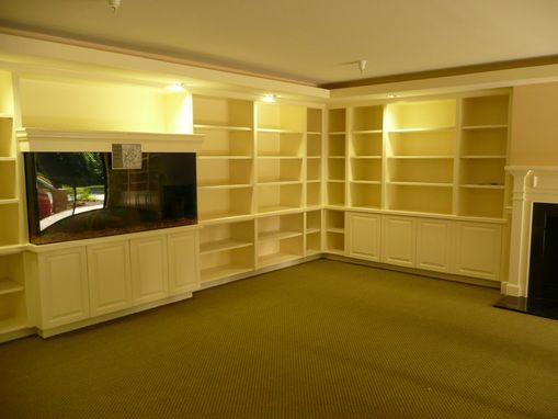 Custom Made Built In Aquarium And Bookcases And Millwork