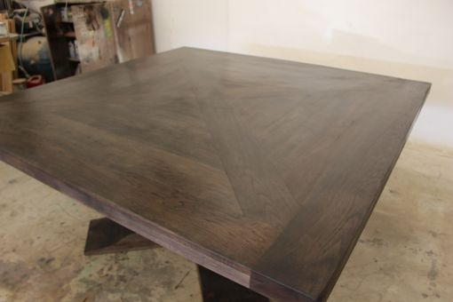 Custom Made X Design Pedestal Table With Inlayed Top