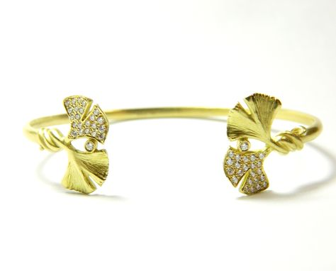 Custom Made Gingko Open Cuff Bracelet In 18k Green Gold And Diamond