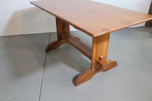 Custom Made Rustic Trestle Table With High Back Bench Both From Old Pine