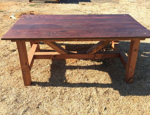 Custom Made Farm Table With Parson Base