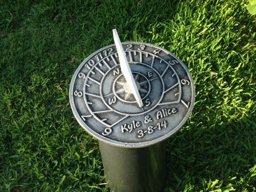 "Custom Made Custom ""Compass With Numbers"" Cast Aluminum Sundial Made For Your Location With Personalized Text."