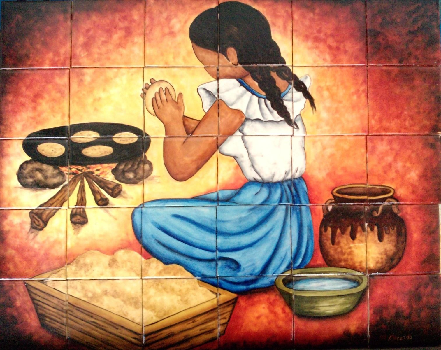 Hand made ceramic tile hand painted mural for kitchen by lomeli hand made ceramic tile hand painted mural for kitchen by lomeli tile designers inc custommade dailygadgetfo Images