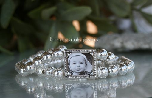 Custom Made Photo Bracelet / Photo Jewelry...Silver Textured Beads