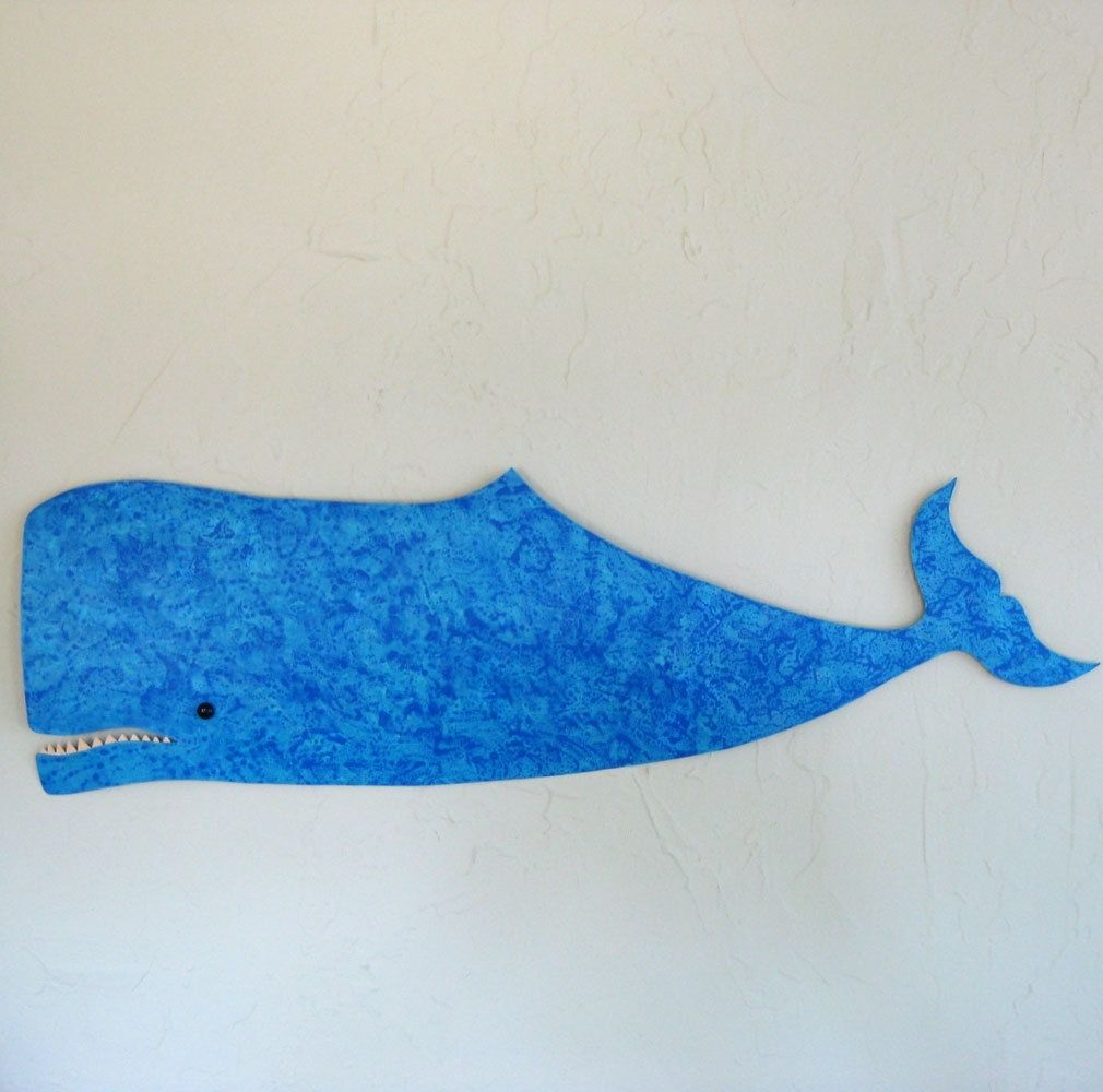 Custom Made Handmade Upcycled Metal Whale Wall Art Sculpture