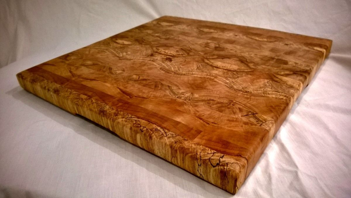Hand made maple end grain cutting board with butterfly