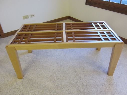 Custom Made Maple Coffee Table With Cherry Lattice Top