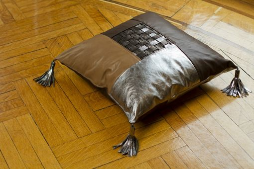 Custom Made Large Leather Weaved Floor Pillow