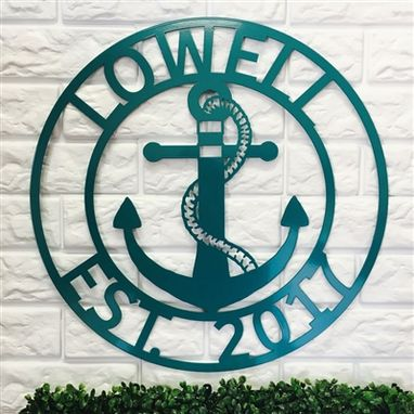 Custom Made Anchor Family Name Sign - Metal