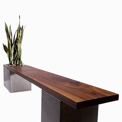 Custom Made Modern Concrete And Wood Planter Bench By Tao Concrete