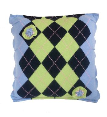 Custom Made Charming Multicolor 3d Argyle Cashmere Throw Pillow