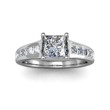 Custom Made Forever Brilliant 0.50 Carat Square Princess Center Stone 14kt White Gold Diamond Engagement Ring