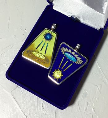 "Custom Made Blue And Yellow ""Sun V.S. Flower"" Cloisonné Silver Pendants Set"